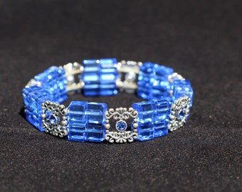 Blue and Silver Accent Beaded Bracelets Elastic Stacking Bracelet