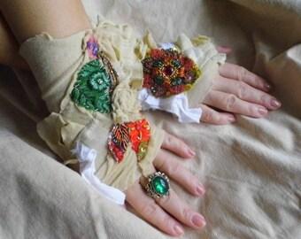 Gloves, jane austen, victorian, gypsy, flower girl, shabby chic, faery punk, steampunk romance, alternative wedding, cuffs, strech, romance