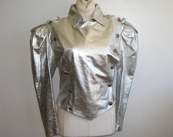 Vintage 80s Silver Faux Leather Space Odessey Punk Rock Military Style Metallic Jacket
