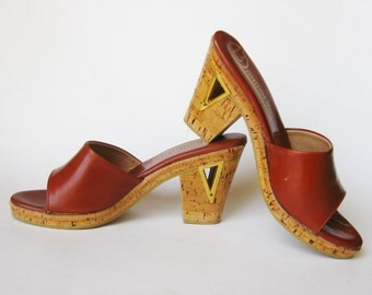 Vintage 60s 70s Shoes Brown Leather Cork Platform Wedge Open Toe Slip On Mules Sandals Shoes 7 1/2 N