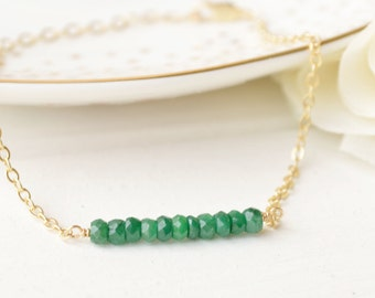 Emerald Gemstone Bar Bracelet - Layering - Sterling Silver & 14k Gold Filled
