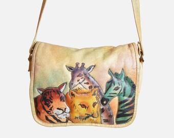 Vintage 80s Safari Zebra Tiger Lion PURSE / 1980s Hand Painted Leather Bag