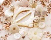 Shabby Chic Vintage White and Mother of Pearl Buckle and Button Rhinestone Glass Destash Mix 20
