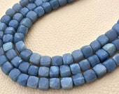 Rare Natural Peruvian Blue Opal Faceted 3D Box Shape Briolettes,7-8mm Size.Full 8 Inch Long Strand