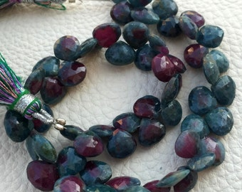 Brand New,1/2 Strand,Superb-Finest RUBY ZOISITE faceted Heart Shape Briolettes 7-8mm Long,Great Price Rare Item