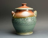 Handcrafted stoneware cookie jar iron red and blue green storage jar 3039