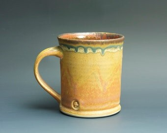 Handmade pottery coffee mug tea cup 14 oz, orange rust tea cup 3325