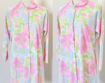 Vintage 1960's Floral Robe / 60s Blue & Pink Flowered Button Up House Coat / Lorraine Size Large
