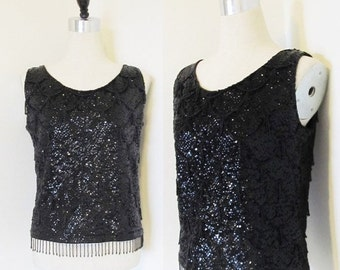 50% OFF SALE Vintage 1950's Black Beaded Blouse Top / NEW Year Party Sequined Bead Sleeveless Shirt Size Medium / Made in Hong Kong