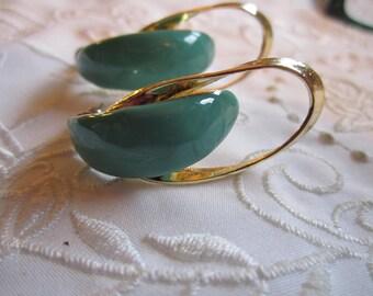 Vintage Gold Tone Enameled Aqua Pierced Earrings