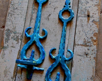 Blue Color Wash Water Color Candle Wall Sconces Metal Painted