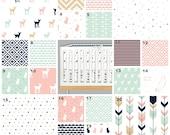 Sweet Woodlands (Custom Crib Set) Baby Bedding, Crib Bedding, Mint, Peach, Pink, Gold, Navy Pastel, Deer, Fawn, Arrows Baby Nursery