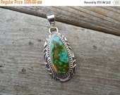ON SALE Turquoise pendant handmade in sterling silver and signed by an American Indian silversmith