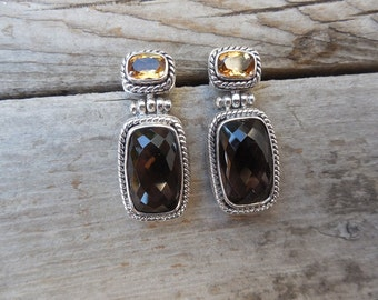 Smokey quartz and citrine earrings handmade in sterling silver