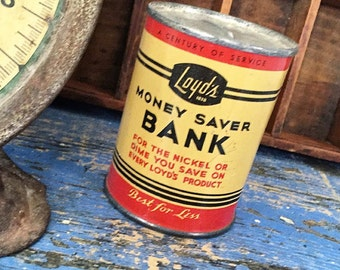 Vintage Tin Advertising Bank Collectible Money Saver Lloyd's Product