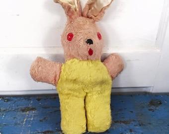 Vintage Plush Bunny Rabbit, Vintage Stuffed Animal, Vintage Easter Bunny Rabbit, Vintage Plush Rabbit, Pink Stuffed Bunny