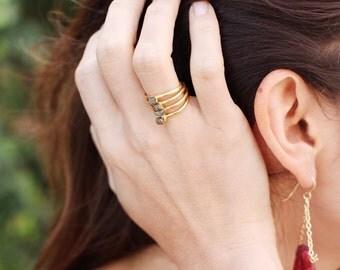 Petite Pyrite Stone Ring