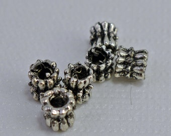 Antique silver plated beads, 5x5mm - #1851