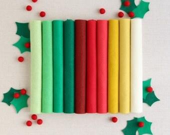 Wool Felt // Christmas // DIY Ornaments, Classic Christmas Felt, Red Felt, Green Merino Felt Sheets, Felt Stockings, Holiday Felt Fabric