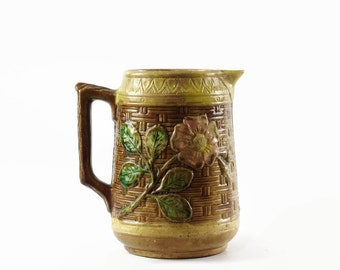 Antique Majolica Pitcher, Vintage Majolica Pottery, Country Cottage Decor