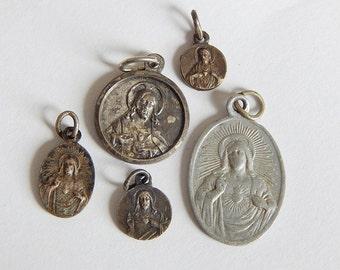 Jesus sacred heart medals 5 vintage medals