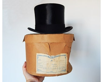 top hat and box antique french top hat