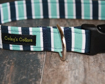 """Dog Collar Xsmall 1/2"""" Ready to Ship Sale """"The Stripe in Blues"""""""""""