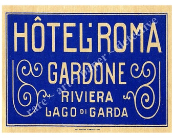 Gardone Riviera Italy Hotel Luggage Label Sticker - Luggage Label, Suitcase Sticker Label, Italian Travel Trunk Decal, Authentic Sizes, D70