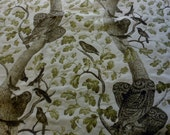 Upholstery fabric by the yard, Hoot owl by Regal fabrics, one yard, 54 inches wide