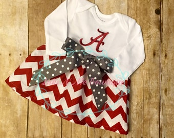Monogramed Chevron Alabama Crimson Tide  Dress