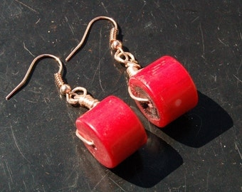 Bamboo Red Coral Rose Tone Drop Earrings