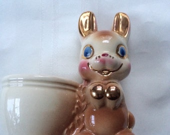 Vintage Bunny Rabbit Planter 1950 Gold Accents Candy Container Cottontail Peter Rabbit