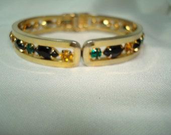 1960s Jeweled Bangle Easy on and Off Gold Tone Bracelet.