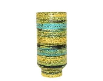 Mid-Century Modern Raymor Vase by Alvino Bagni Turquoise Yellow and Green Italian Pottery