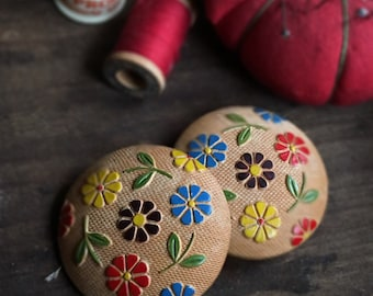 Large Carved Painted Wooden Buttons