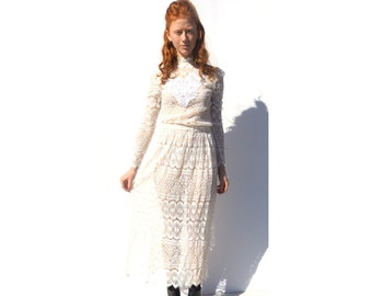 Belle epoque white lace high neck wedding dress 1990s 90s VINTAGE