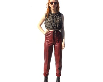 Maroon/burgundy high waist high rise leather pants PETITE 1990s 90s VINTAGE