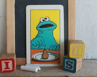 Vintage Muppets Flash Card // 1978 Muppets // ONE  // Cookie Monster with One Pear