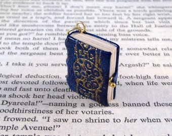 Miniature Book Necklace Charm Ornate Gold Embossed Leather Book Charm Blue