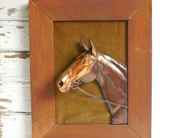 Vintage Copper Horse head framed Dodge Trophies spelter dimensional Sculpture Western Thoroughbred equestrian