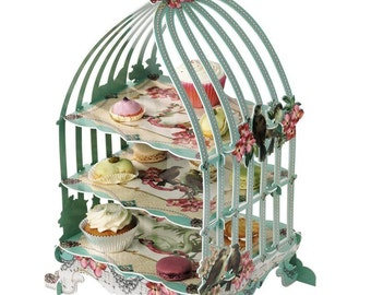 Shabby Chic Pastry Tea Sandwich Cupcake Birdcage Stand