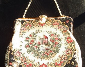 Vintage French Pettipoint Evening Bag Fancy Clasp Mint Item #130 Purses
