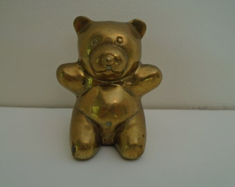 vintage brass teddy bear