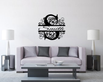 Monogrammed Family Name Vinyl Wall Decal - Flourish Wall Sticker - Family Room Wall Decal - DIY Family Name Wall Décor - Customize your room
