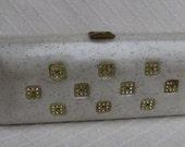 Vintage Quilted Plastic Clutch, Rhinestones, Sparkles, 1950