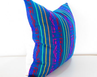 Blue Pillow, Tribal Pillows Covers, Colorful Pillow Covers, Bohemian Decor, Boho Bedding, Mexican Cushion, Square, tribal pillowcase