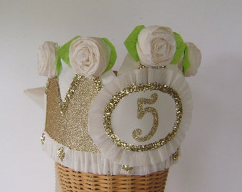 5th  Birthday party Crown, 5th birthday party Hat,  gold glitter birthday hat, party hat, lollipop birthday hat, customize