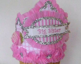 BIG SISTER - Celebration Hat/Crown- New Baby - Baby shower