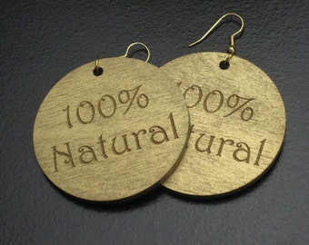Large Gold 100% Natural Wood Painted Earrings