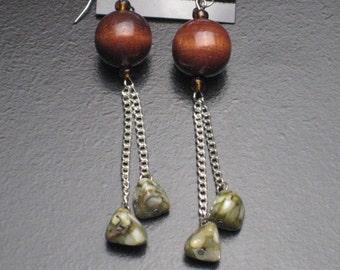 Wood and Stone Beaded Earrings